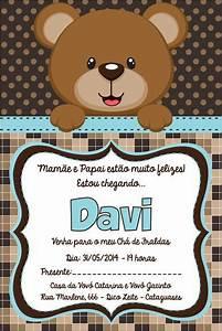 Arte Convite Ch De Beb Urso Azul Fontsprintables