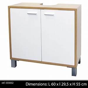 meuble sous evier lavabo 2 portes salle de bain achat With porte d entrée alu avec vasque sous plan salle de bain