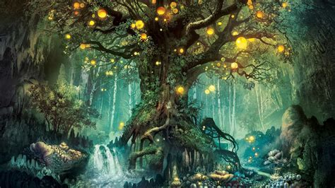 of the island fox a mystery magic forest tree lights creative design wallpaper