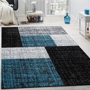 Teppich Braun Türkis : designer teppich modern kurzflor karos und rechtecke meliert grau schwarz t rkis teppiche ~ Frokenaadalensverden.com Haus und Dekorationen