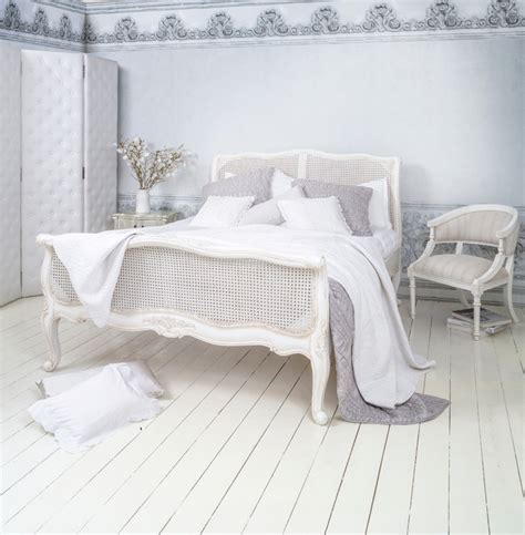 shabby chic style bedding uk provencal white rattan rattan bed king