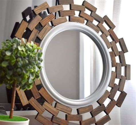 simple dollar tree mirror mini jenga blocks glued  appeasing pattern   diy dollar