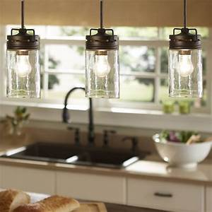 Industrial farmhouse glass jar pendant light