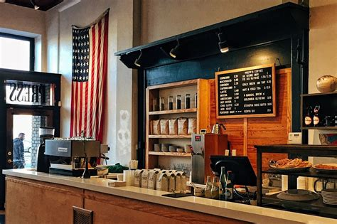 stock photo coffee shop american flag america