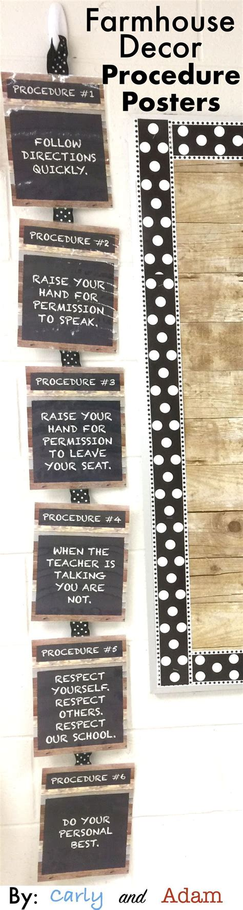 Farmhouse Classroom Decor Procedure Posters (EDITABLE) - # ...