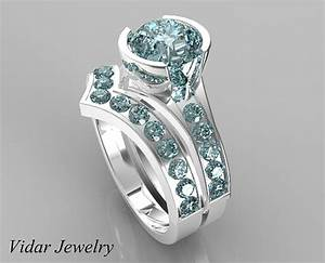 unique style aquamarine wedding ring set vidar jewelry With custom wedding ring sets
