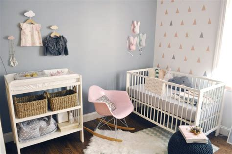 deco chambre bebe vintage modern and cozy baby nursery with trendy triangles