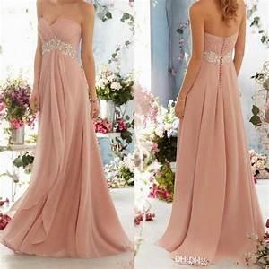 blush pink bridesmaid dress 2015 long chiffon sweetheart With cheap blush wedding dresses