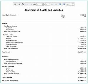 Statement of assets and liabilities for Asset and liability statement template