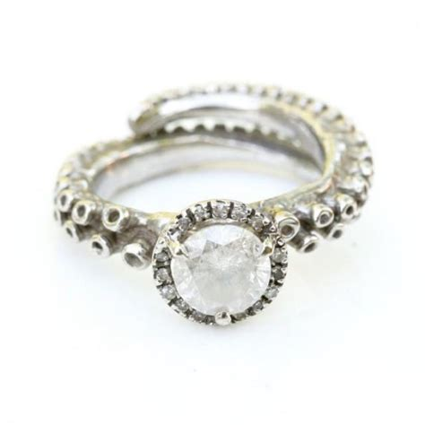 octopus tentacle ring 14k white gold engagement ring with