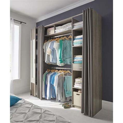 tenture chambre b dressing tout en un extensible avec rideaux et miroir
