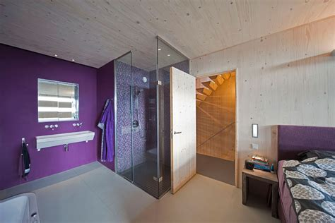 glass shower purple walls bedroom eco friendly house