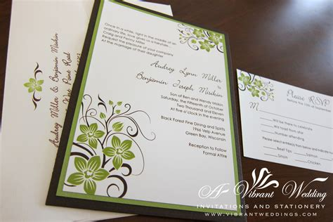 Brown and green wedding invitation ? A Vibrant Wedding