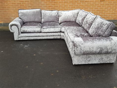 large velvet corner sofa brand new silver crushed velvet large corner sofa can