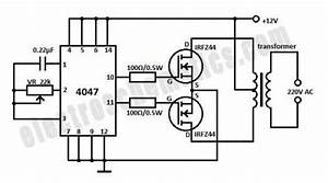 dc to ac inverter 12v to 220v inverter With 50hz accurate oscillator circuit schematic diagram wiring diagram