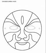 Mask Chinese Opera Template Coloring Allbusinesstemplates sketch template