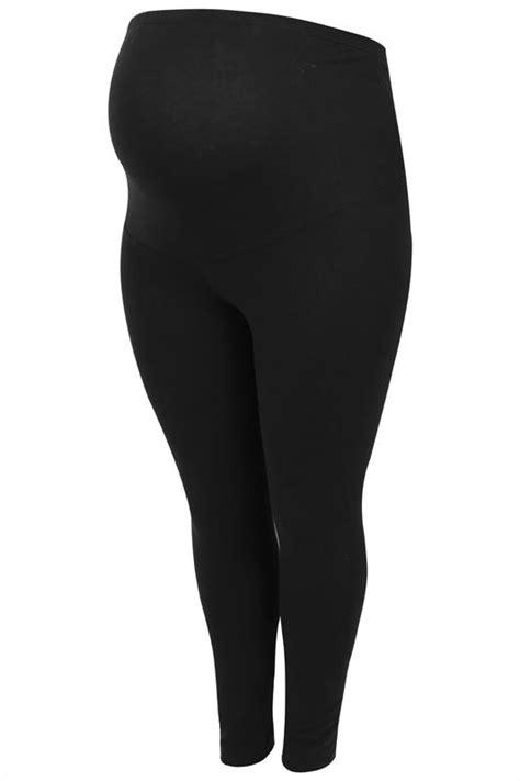 bump   maternity black cotton essential leggings  comfort panel  size