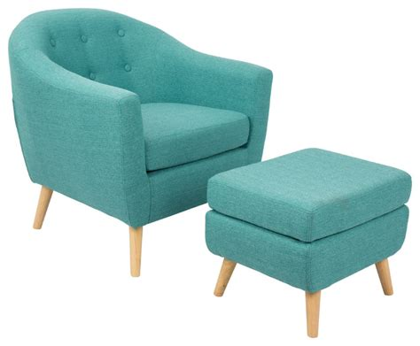modern accent chair and ottoman shop houzz lumisource rockwell mid century modern chair