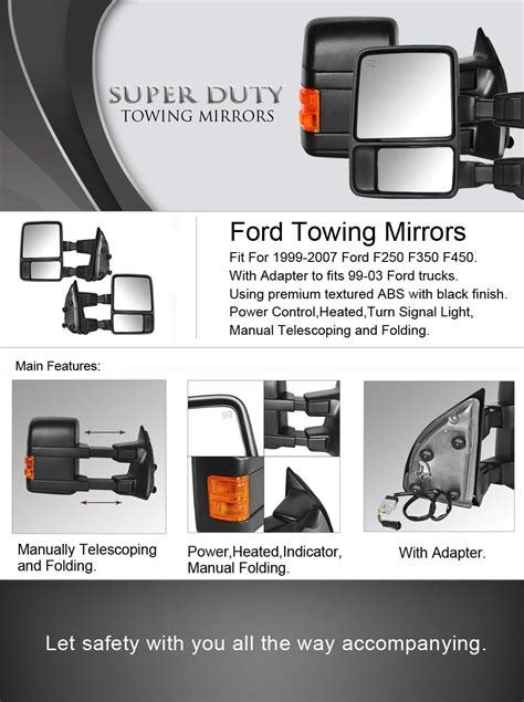 dedc ford towing mirrors f250 ford tow mirrors f350 f450 pair for 1999 2007 side