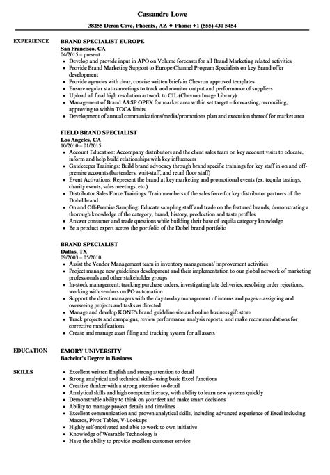 brand specialist resume samples velvet jobs