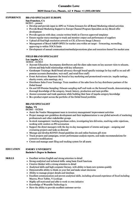 brand specialist resume samples velvet jobs