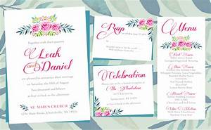 floral wedding invitations printing by penny lane With wedding invitations layout examples