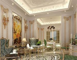 Plaster decoration french living room prefaes for Interior design style profile