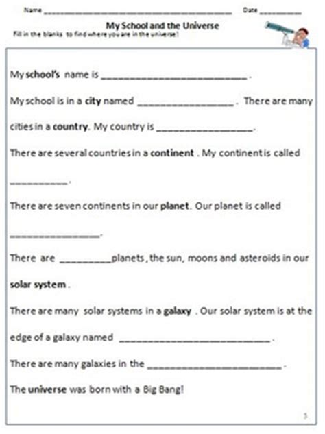 free worksheets on universe for grade 3 our universe galaxies solar system planets