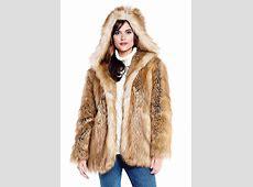 Gold Fox Hooded Faux Fur Jacket Womens Faux Fur Jackets