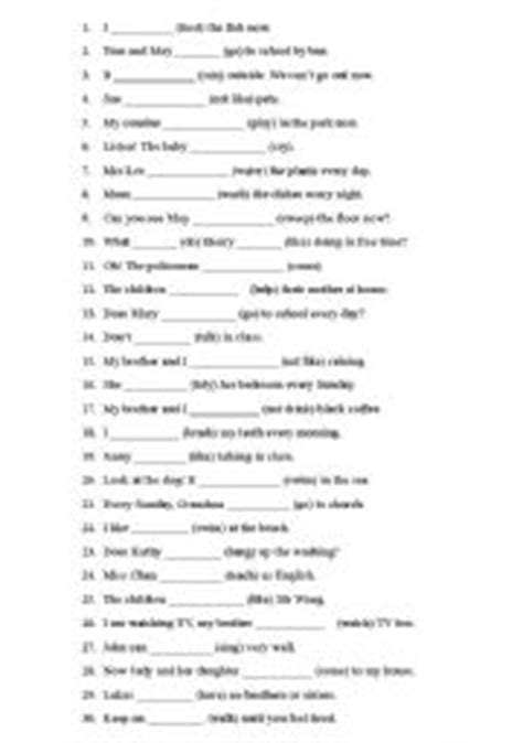 simple present tense worksheets for grade 5 pdf present