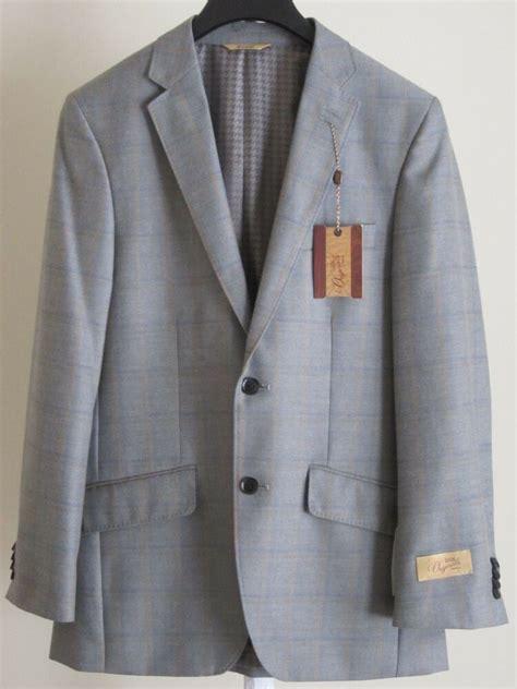 mens sport coat  suit jacket gray blue plaid checkered