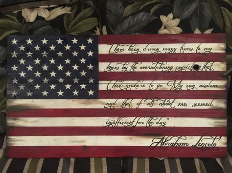 wooden american flag  abraham lincoln quote custom