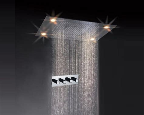ceiling mounted rainfall led shower faucet rectangle