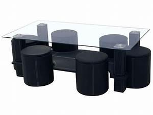 Table Basse Pouf Intégré : table basse avec 6 poufs en pvc coloris noir vente de comforium conforama ~ Dallasstarsshop.com Idées de Décoration