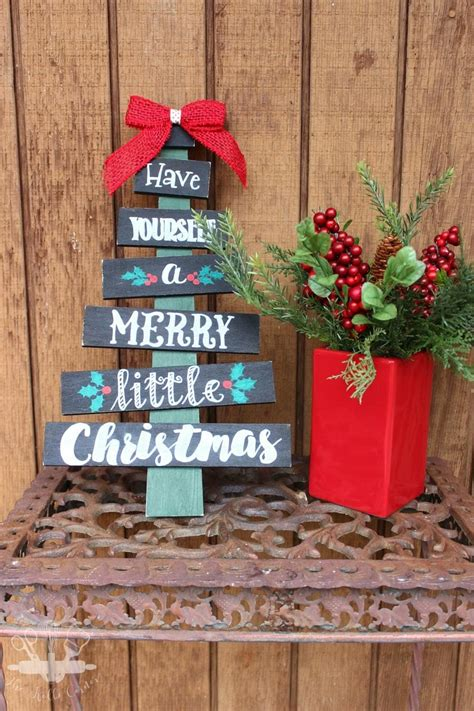 painted hand christmas trees painted tree sign domestically creative