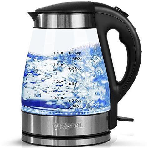 electric kettle tea glass water cordless heating amazon boil led kettles fast liter automatic quick rated quiet protection borosilicate teapots