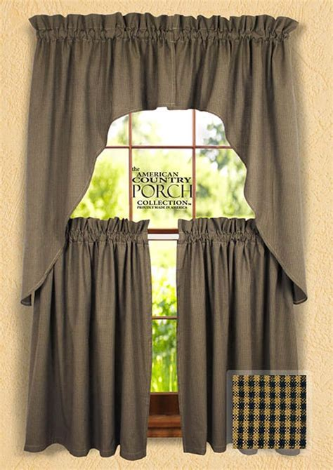 Cottage Navy Minicheck Window Curtain Swags