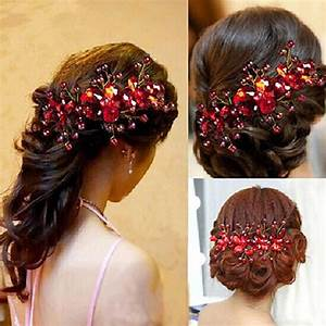 New Design Chinese Red Flower Wedding Bridal Hair Jewelry
