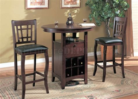 pub table with wine rack brown finish modern 3 pc bar table stools set w wine rack