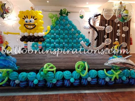 underwater balloon decor sponge bob themed birthday