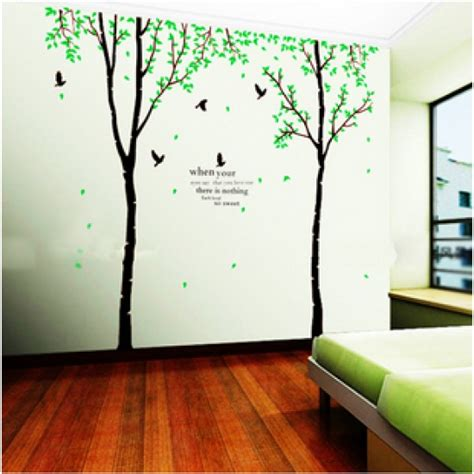 Large Green Trees with Birds Vinyl Wall Decals   vinyl