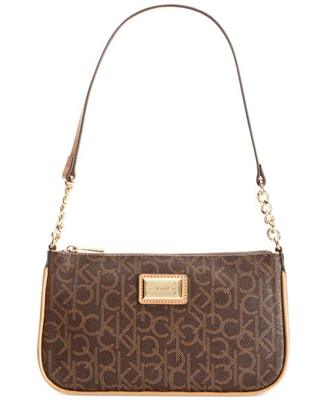 calvin klein hudson monogram demi bag  brown brown