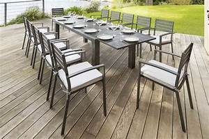 Table 12 Personnes : table extensible figari noire effet bois 12 places aluminium peinture effet bois hesp ride ~ Teatrodelosmanantiales.com Idées de Décoration