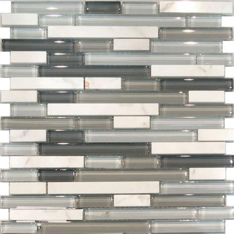 kitchen backsplash glass 10sf carrara white marble gray glass linear mosaic tile