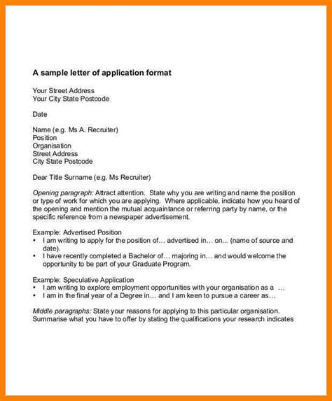 Application Format Letter by 9 Exles Of Work Application Letter Cains Cause