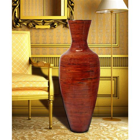 Floor Vases uniquewise 37 5 in reds and pinks bamboo floor