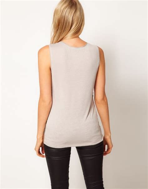 Oasis Metallic Sequin Shell Top In Silver Lyst
