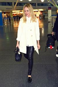 Margot Robbie At JFK Leather Celebrities