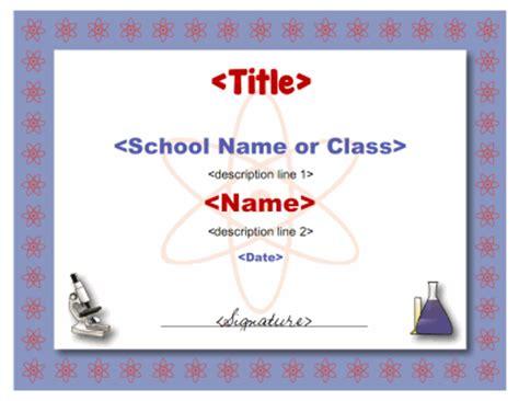 science certificate template