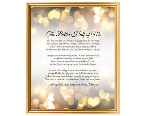 wedding anniversary gift poem    husband wife partner